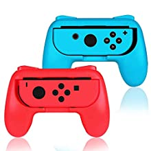 ADZ 2 x Red & Blue Controller Grip Handle Accessories compatible with Nintendo Switch Joy-Con Controller