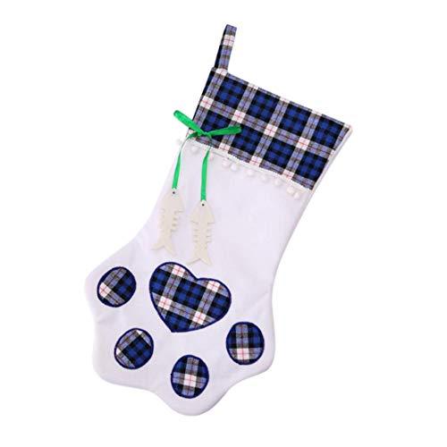 tsplaid-Geschenktaschen | Haustier Hund Katze Pfote Stocking Socken | Weihnachtsbaum Ornamente (blau) ()