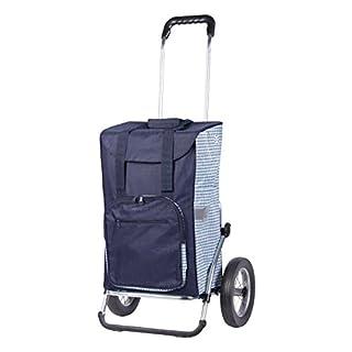 Sondermodell Andersen Einkaufstrolley Royal Dante & Einkaufstasche blau/weiß mit Kühlfach | Einkaufswagen mit großen Rädern | Trolley Gestell Aluminium klappbar