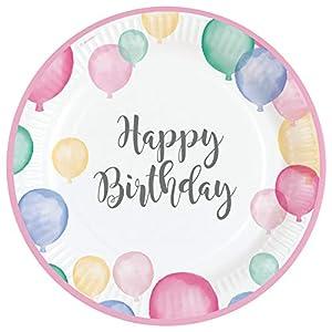 amscan 9903708 Happy Birthday - Platos (8 Unidades), Color Pastel