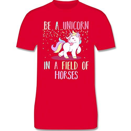 Einhorn Unicorn - be a unicorn a field of horses - Herren T-Shirt Rot