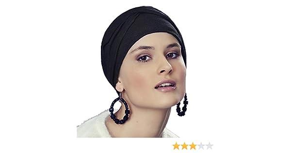 Cuffia boho chic Alma con pizzo in cotone drappeggiato grigio scuro per la chemioterapia