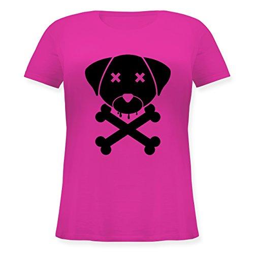 Hunde - Hund Skull - Lockeres Damen-Shirt in großen Größen mit Rundhalsausschnitt  Fuchsia