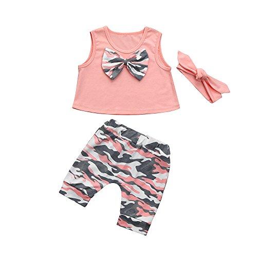 ❤️Kobay Neugeborenen Kleinkind Baby Mädchen Jungen Camouflage Bogen Tops Hosen Outfits Set Kleidung (Rosa-B, 80 / 12Monat) -