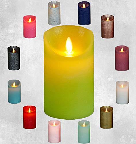 erze viele Farben mit Timer flackender Docht Wachskerze Kerzen Batterie, Größe:12.5 cm, Farbe:Lime ()