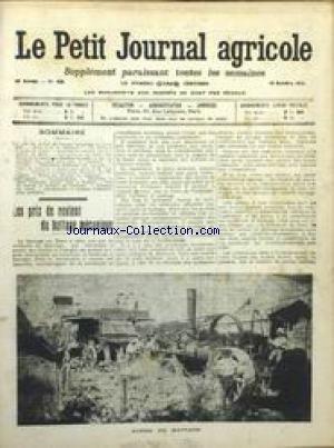 PETIT JOURNAL AGRICOLE [No 929] du 19/10/1913 - LES PRIX DE REVIENT DU BATTAGE MECANIQUE - DROIT RURAL - ETAT DU MARCHE