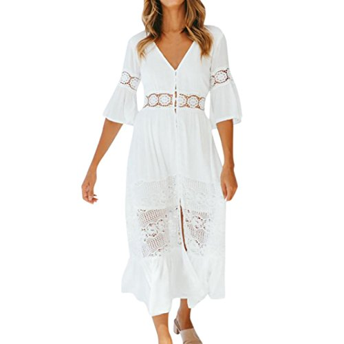 Kleid damen Kolylong Frauen Elegant V-Ausschnitt Spitze Kleid 3/4 arm Vintage Spitzenkleid Lang...