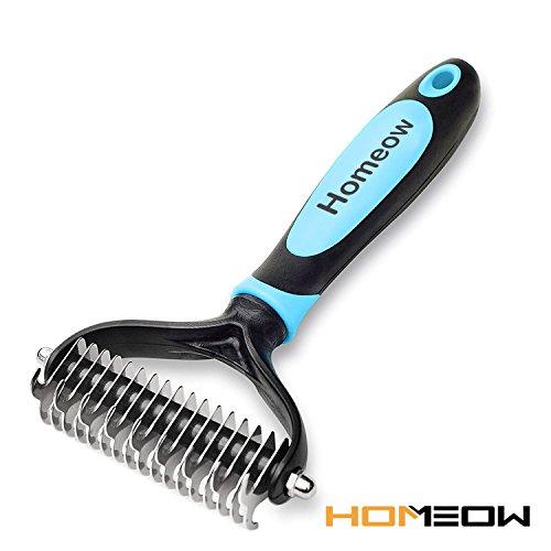Homeow dog pet grooming spazzola pettine sottopelo rake, dematting pettine groomimg stripping deshedding tool per gatti, 9+ 17denti larghi (blu)