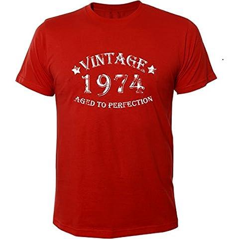 Mister Merchandise T-Shirt Vintage 1974 Aged To Perfection 40 Jahre Geburtstag Years - Uomo Maglietta S-XXL - Molti Colori