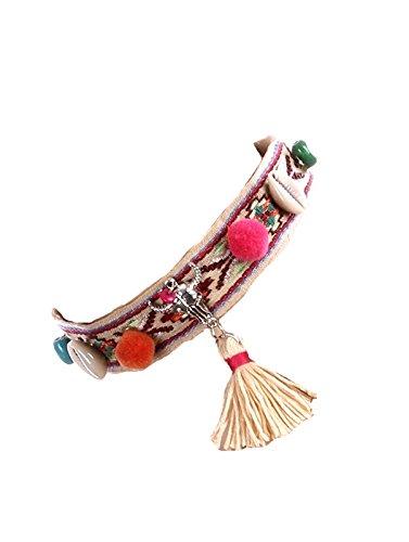 Gioielli ANT Sinfonia Ethno Realizzato a mano collana girocollo catena tessuto intrecciato conchiglie perline di legno bianco giallo crema rosa verde rosso Bommel Pompom