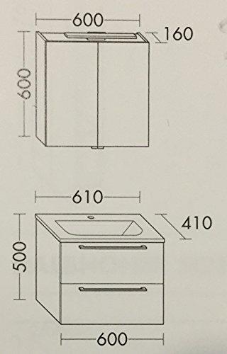Spiegelschrank Burgbad Set mit Waschtisch und Unterschrank – 61 cm - 3