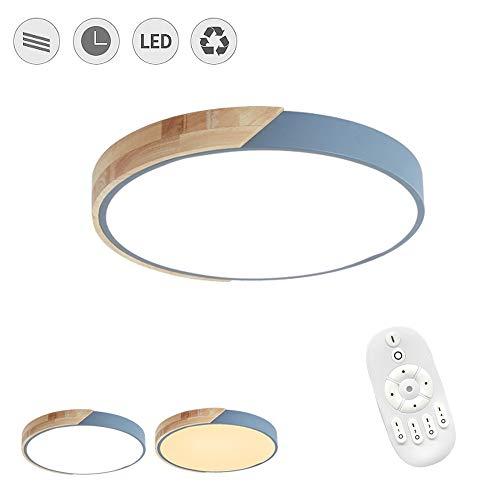 FROADP 48W Holz LED-Deckenleuchte Runde Dimmbar mit Fernbedienung - Ø40cm Alu und Acryl Deckenlampe - für Babyzimmer Schlafzimmer Wohnzimmer Kinderzimmer