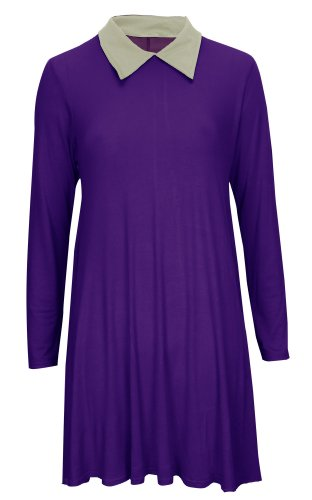 Swing femme évaséà manches longues pour femme Motif Peter Pan/robe/haut/SZ seau XL Violet - Violet