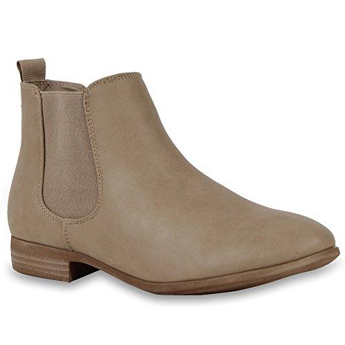 Damen Schuhe Chelsea Boots mit Blockabsatz Khaki