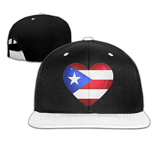 Puerto Rico Large Heart Flag Ajustable Snapback Hip Hop Deporte al aire libre Gorra de camionero Sombreros Gorra de béisbol blanca de borde plano fo
