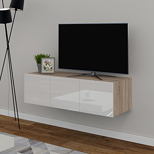 tv lowboard 120cm eiche sonoma hochglanz sideboard. Black Bedroom Furniture Sets. Home Design Ideas