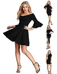 Ever-Pretty Robe Noire Courte Robe de Cocktail Soirée Sexy Moulante Femme  05883 14431685c2c0