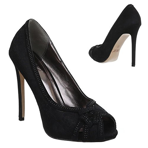 Damen Schuhe, 0290-P, PUMPS HIGH HEELS PEEP TOE Schwarz