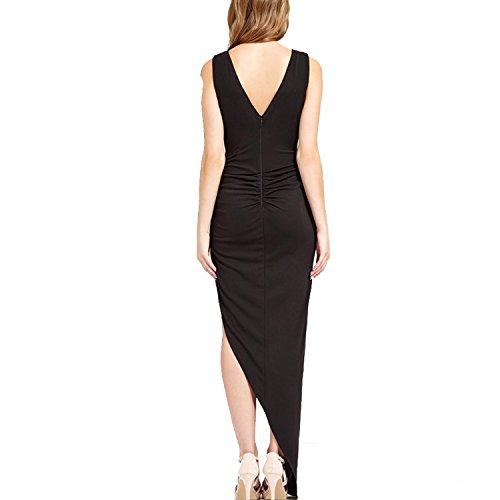 CoCo Fashion Damen Maxikleid Abendkleid Paillettenkleid Lace Bodycon Partykleid Cocktail Pencil Kleider mit Falten Ärmellos, Größe EU 34-36(Herstellergröße M), Farbe Schwarz - 3