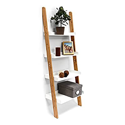 Relaxdays Bamboo Bookcase: 144 x 56 x 34 cm Ladder Shelf Unit with 4 Shelves Made of Bamboo Wood Living Room Office Furniture Bookshelf, White - cheap UK light shop.