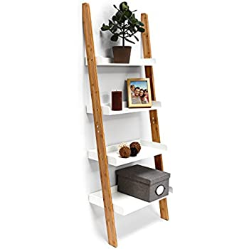 Relaxdays Bamboo Bookcase: 144 x 56 x 34 cm Ladder Shelf Unit with 4 Shelves