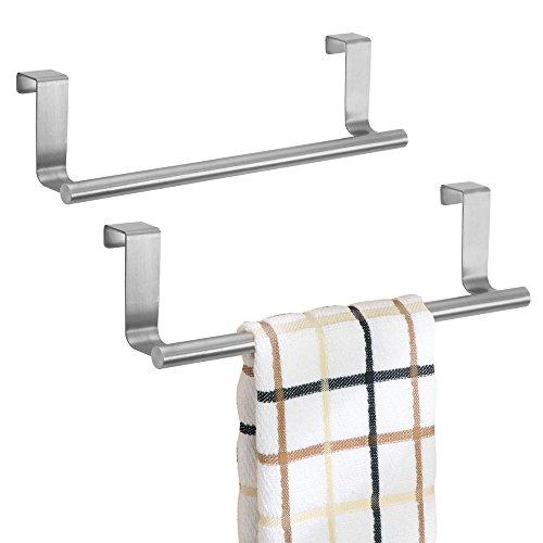 mDesign Handtuchhalter ohne Bohren montierbar - Handtuchhalter Küche - einfach über Küchen- & Schranktür einzuhängen - praktischer Geschirrtuchhalter aus gebürstetem Edelstahl - 2er Set