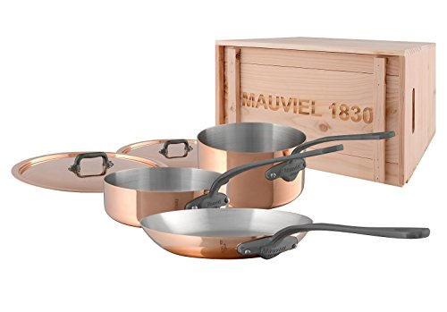 Mauviel M'Heritage M150C2 6450.01WC -5 Piece Copper Cookware Set with crate Cast Stainless Steel Handle with Iron Color Finish