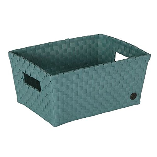 Handed by bibbona Open Basket with open Handles Stone Green