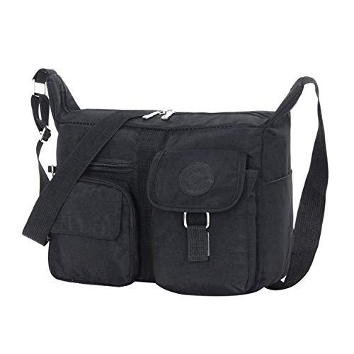 Kimlee Bolso Bandolera para Mujer y Hombro Bolso Mensajero Organizadores Maletin Escolar Sport Messenger Bag (Nero 01)