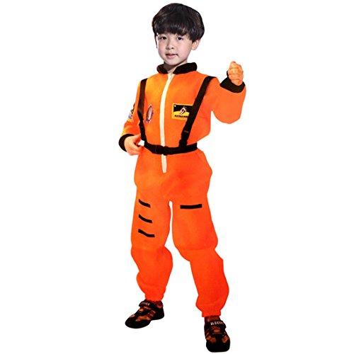 GWELL Piloten Kostüm Set für Jungen Halloween Weihnachten Party Cosplay Karneval orange (Kostüme Kinder Pilot)
