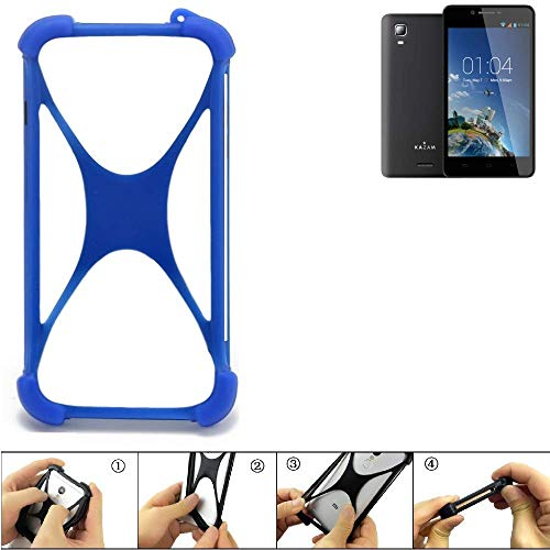 K-S-Trade Bumper für Kazam Trooper 2 6.0 Silikon Schutz Hülle Handyhülle Silikoncase Softcase Cover Case Stoßschutz, blau (1x)