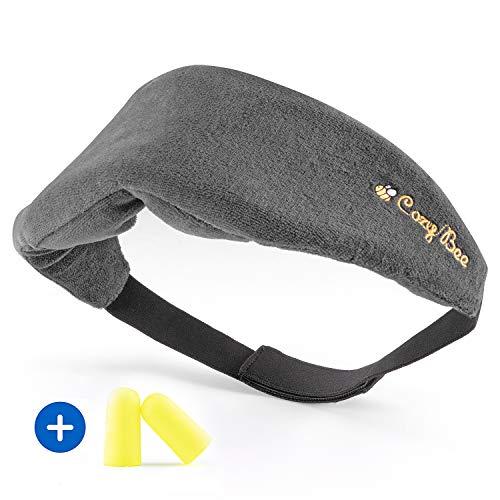 Cozy BeeTM Reise Schlafmaske - Bequeme Memory-Schaum-Foam Augenmaske für erholsamen Schlaf - Waschbare Schlafbrille für Damen und Herren - 100% Blickdicht - Grau