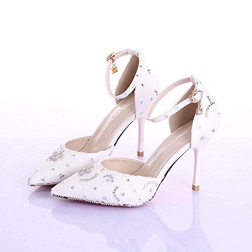 Si& Scarpe da sposa donna / damigella d'onore e sposa / Principessa Dolce / Tacco Stiletto / Punta punta / Sandali con tacco alto / scarpe da ballo bianco 9CM