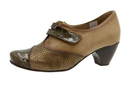Chaussure femme confort en cuir semelle Piesanto 5406 scratch casual comfortables amples Taupe