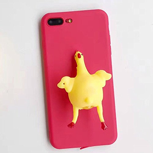 Rainbow Fox 3D Squishy Case for iphone 6/ 7,Kneten Weich Silikon Finger Prise Schützend Abdeckung Squishy chicken (iPhone 7 Plus, #1) (Chicken Fingers)