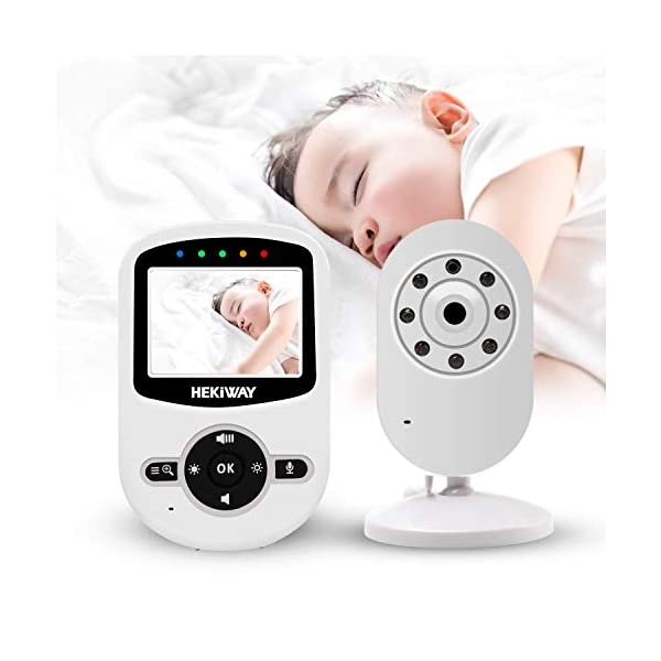 2.4GHz Digital Wireless Video Baby Monitor,HEKIWAY Baby Monitor with Two Way Talk Back, Infrared Night Vision, Room Temperature, Lullabies, ECO, Long Range and High Capacity Battery Monitor HEKIWAY ✔ICONS OVERVIEW:Signal,volume,zoom,alarm,brightness,night vision,lullaby,ECO,Talk to baby,Camera,Battery,temperature. ✔Infrared Night Vision:Enable you to keep an eye on your baby all night in your bedroom.You can play 4 soothing lullaby songs or use the two-way intercom feature to comfort your baby. ✔TWO-WAY TALKING&LONG TRANSMISSION RANGE:You can play 4 soothing lullaby songs or use the two-way intercom feature to comfort your baby.The monitor covers a transmission range of up to 300m. 7