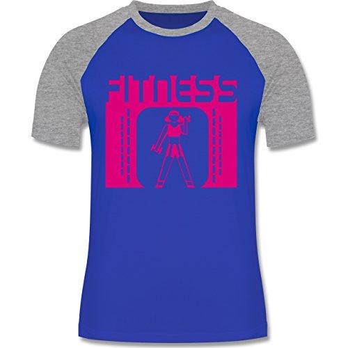 Sonstige Sportarten - Fitness - zweifarbiges Baseballshirt für Männer Royalblau/Grau meliert
