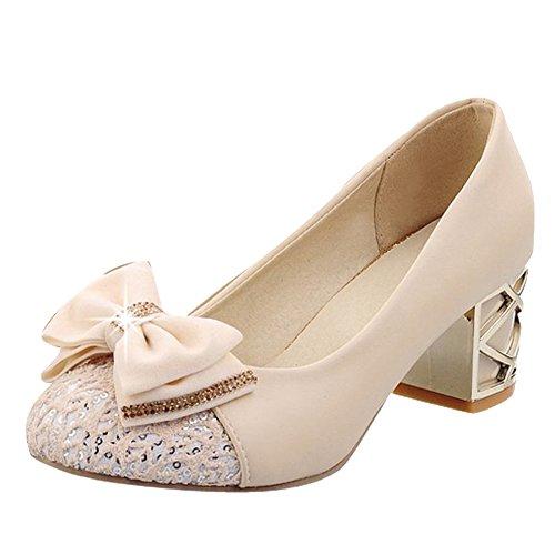 Mee Shoes Damen mit Schleife chunky heels Pumps Aprikose