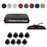 Voiture Système Radar de Recul, Cocar Buzzer Radar Parking Kit LED Écran avec Distance Affichage + 8 Capteurs + Avertissement sonore(Noir)