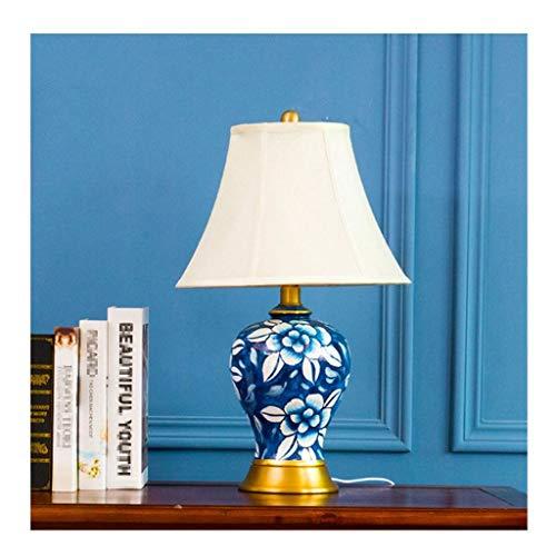 Lampe de bureau Lampe de table en céramique Salon Décoration de la chambre Chambre Table de chevet Lumière Décoration européenne d'ombre de tissu