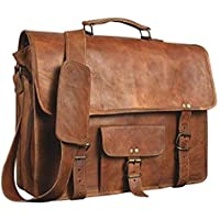 Shakun Leather sac bandoulière vintage fabriqué à la main, cuir chevreau véritable, marron, sac pour ordinateur portable, taille unique, 15 Pouces