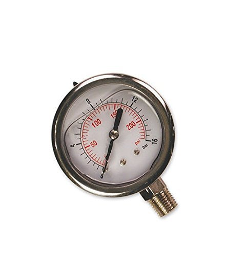 Primefit PGF200B14 Glycerin Filled Bottom Mount Pressure Gauge with 200-PSI NPT, 1/4 by Primefit -