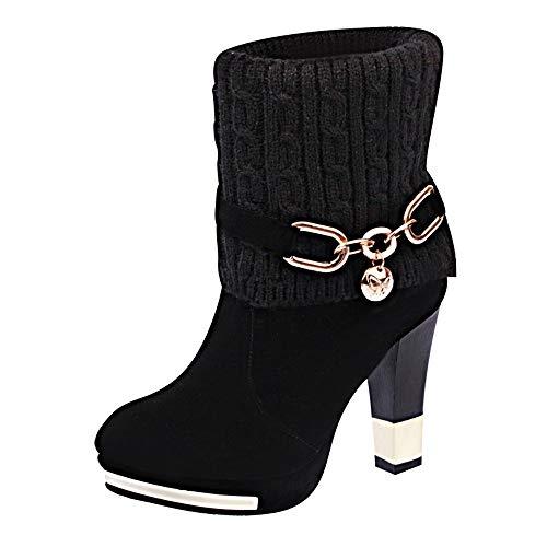 Stivaletti Donna Tacco Topgrowth Stivali Donne Knit Punta Rotonda Scarpe  Donna Tacco Alto Stiletto Stivali Elegante 48dceb004ee