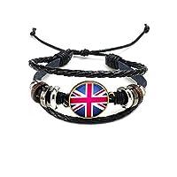 Aesy 2018 Russia World Cup UK National Flags Charm Bracelet Bangles Wristlet Leather String Bead Bracelets Beads Wristband England Women Men Gift Souvenir Jewelry