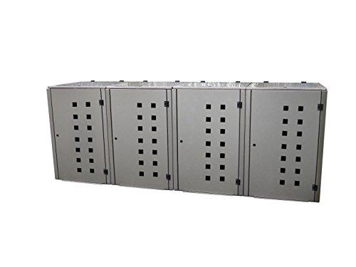 Mülltonnenbox Edelstahl, Modell Eleganza Quad11 als Viererbox für 120 Liter Tonnen