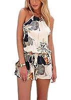 Minetom Sommer Overall Damen sexy elegant ärmellos rückenfrei blume Jumpsuit kurz Kleider Strampelhöschen