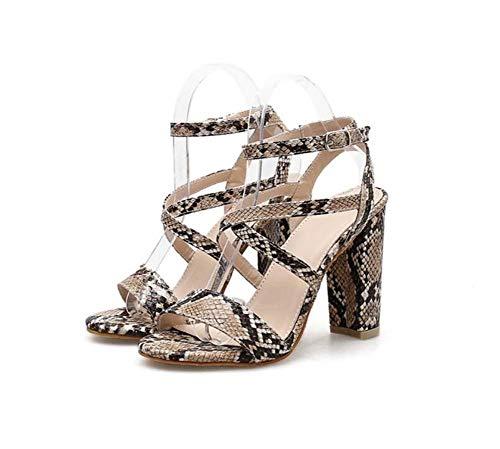 Mamrar Sexy Snake Pattern Hollow High Heel Sandals Women Pump Open Toe D ' Orsay Slingbacks Ankle Straps Roma Shoes OL Court Shoes Eu Size 35-40,Beige,36EU