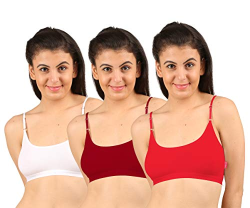 Elk Women's Cotton Adjustable Strap Knitted Sports Bra (White, Maroon, Red, 38) -3 Combo