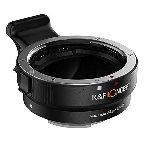 K&F Concept® Objektivadapter Autofokus EF-NEX Automatik Objektivadapter Auto-Blende Elektronische Adapterring für Canon EF-Objektiv an Sony E Mount