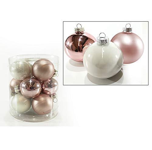 Palle per albero di natale in vetro bianche e rosa sfera natalizia in vetro palline natalizie varie misure decorazione addobbo per albero di natale ghirlanda ornamento casa natale (12 sfere da 60mm)